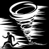 Dessin noir et blanc d'une tornade de laquelle un homme dans un costume court loin Photographie stock libre de droits
