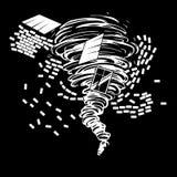 Dessin noir et blanc d'une tornade destructive qui dessine la maison ruinée de brique Image libre de droits