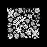 Dessin noir et blanc de fleurs sauvages Images stock