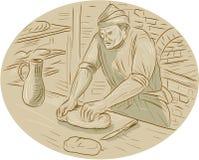 Dessin ovale de Kneading Bread Dough de Baker médiéval illustration stock