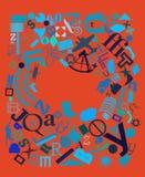 Dessin poster.blue de nouvelles et rouge Images libres de droits