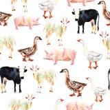 Dessin sans couture de modèle d'animal de ferme dans l'aquarelle Vache, canard, g Images stock
