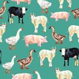 Dessin sans couture de modèle d'animal de ferme dans l'aquarelle Vache, canard, g Photographie stock libre de droits