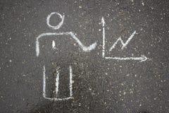 Dessin simple blanc d'affaires sur la craie d'asphalte Image libre de droits