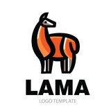 Dessin stylisé de couleur de tenir le lama mignon Images libres de droits