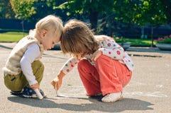 Dessin sur l'asphalte Photo libre de droits