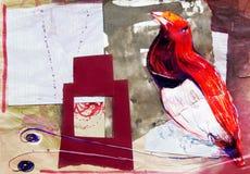 Dessin sur le papier de l'oiseau rouge de paradis Photographie stock