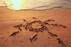 Dessin sur le sable Images libres de droits