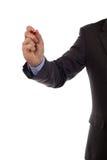 Écriture d'homme d'affaires sur un tableau blanc Image stock