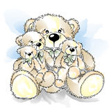 Dessin Teddy Bears avec l'arc Photos libres de droits