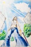 Dessinant avec des crayons, une fille dans les promenades ensoleillées de temps autour de la ville illustration de vecteur
