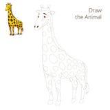 Dessinez la girafe éducative animale de jeu illustration de vecteur