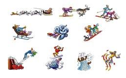 Dessins animés au sujet des sports d'hiver Images libres de droits