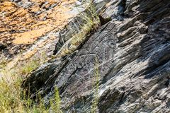 Dessins antiques de caverne et découpage, pétroglyphes sur le mur La Sibérie, Russie photographie stock