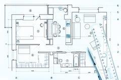 Dessins architecturaux avec le crayon et la règle Image libre de droits