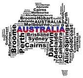 Dessins australiens des textes d'information de villes illustration stock
