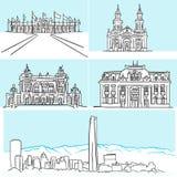 Dessins célèbres d'architecture de Santiago Chile à la main illustration stock