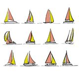 Dessins colorés de voilier illustration stock