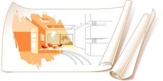 Dessins d'étude intérieure illustration de vecteur