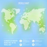 Dessins de carte et d'information du monde Photographie stock libre de droits