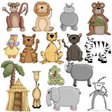 Dessins de Clipart d'animaux de zoo Photos stock