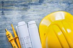 Dessins de construction électriques de casque de bâtiment de sécurité d'appareil de contrôle o photographie stock libre de droits