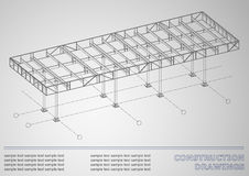Dessins de construction construction en métal 3D Image libre de droits