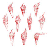 Dessins de croquis de vintage des torches rouges de burning Photographie stock