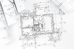 Dessins de plan architectural photographie stock