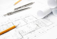 Dessins de planification de construction Image stock