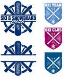 Dessins de ski et d'équipe de Snowboard Photos libres de droits