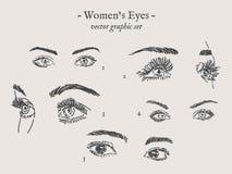 Dessins de yeux de vecteur réglés illustration stock