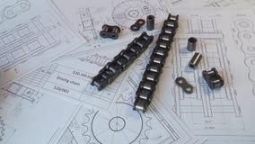 Dessins industriels de papier de chaîne industrielle de rouleau d'entraînement banque de vidéos