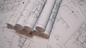 Dessins industriels et modèle Dessins et modèle architecturaux de papier Modèle d'ingénierie clips vidéos