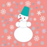 Dessins pour Noël Image d'un bonhomme de neige sur le fond des flocons de neige illustration stock