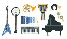 Dessins réalistes d'instruments de musique réglés Photo libre de droits