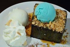 Dessret Icecream Yogurt and blue vanilla scoop with bread Stock Photography