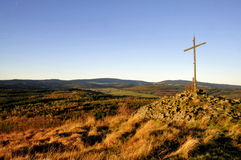 Dessus croisé de colline de lever de soleil Photos libres de droits