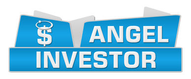 Dessus d'Angel Investor Blue Squares On Image stock