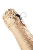 Dessus d'une bouteille de Champagne, d'isolement Images stock