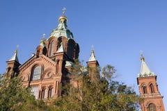Dessus de cathédrale d'Uspensky, à Helsinki, la Finlande Images stock