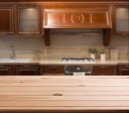 Dessus de l'espace en bois de table et de cuisine Photographie stock