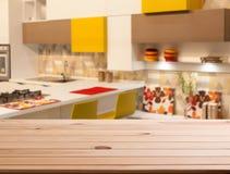 Dessus de l'espace en bois de table et de cuisine Image stock