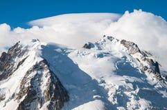 Dessus de Mont Blanc, glacier Photos stock