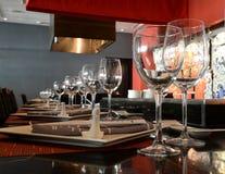 Dessus de table dans le restaurant Images libres de droits