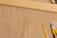 Dessus de table de bureau d'atelier de bricoleur de charpentier comme espace de copie Images libres de droits