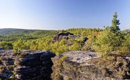 Dessus de table de montagne avec une croissance dense de verdure vue autour Photos libres de droits