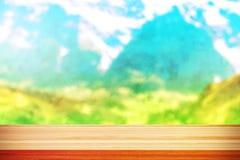 Dessus de table en bois sur le fond de mer de tache floue Photos libres de droits
