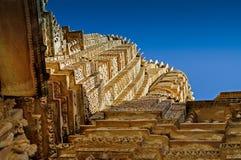 Dessus de temple de Vishvanatha, Khajuraho, Inde - site d'héritage de l'UNESCO. Photographie stock libre de droits