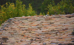 Dessus de toit antique d'argile réparé au-dessus des siècles ; esthétique et ingénierie Images libres de droits